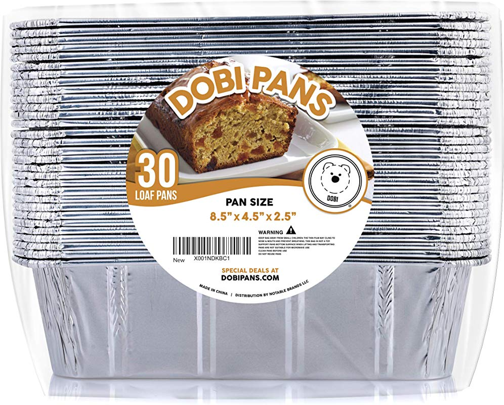DOBI 30 Pack Loaf Pans Disposable Aluminum Foil 2Lb Bread Pans Standard Size 8 5 X 4 5 X 2 5 Favorite Bread Tin Size For Homemade Cakes Breads
