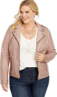 maurices Womens Plus Size Faux Leather Pintuck Hooded Jacket
