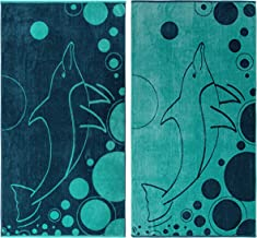 """Superior 100% Egyptian Cotton, 450 GSM, Mystic Dolphin Oversized Beach Towel (Set of 2) 34""""x 64"""", 2-Ply, High Absorbency Nautical Navy and Teal Style"""