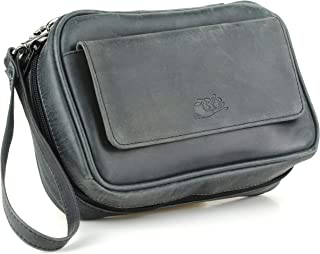 Tobacco Pipe Combo Pouch Case - Holds: Pipes, Tobacco, Cleaners, Tool Etc. - Diesel Leather - [Slate Black]