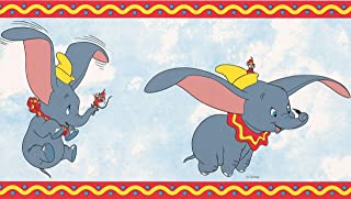 Dumbo the Elephant Disney Cartoon Wallpaper Border - White, Blue, Red - Kids Baby Room, Roll 15' x 7''