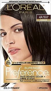 L'OrÃal Paris Superior Preference Fade-Defying + Shine Permanent Hair Color, 4A Dark Ash Brown, 1 kit Hair Dye 1 Count
