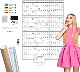 Large Dry Erase Wall Calendar - 52x36 Inches - Blank Undated Yearly Calendar - Whiteboard Premium Laminated Planner - Reus...