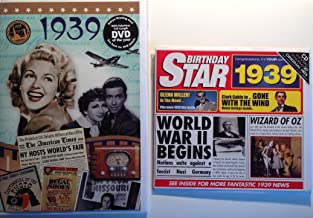 1939 Birthday Gifts Pack - 1939 DVD Film , 1939 Chart Hits CD and 1939 Birthday Card