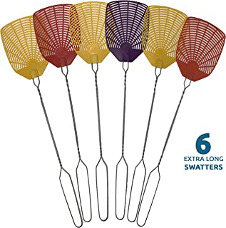 W4W Bug & Fly Swatter – Extra Long Handle 6 Pack Fly Swatters – Indoor/Outdoor – Pest Control flyswatter with 30 Labels