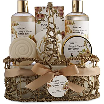 Home Spa Gift Basket - Honey & Almond Scent - Luxury Bath & Body Set For Women and Men - Contains Shower Gel, Bubble Bath, Body Lotion, Bath Salt, Bath Bomb, Bath Puff & Handmade Weaved Basket