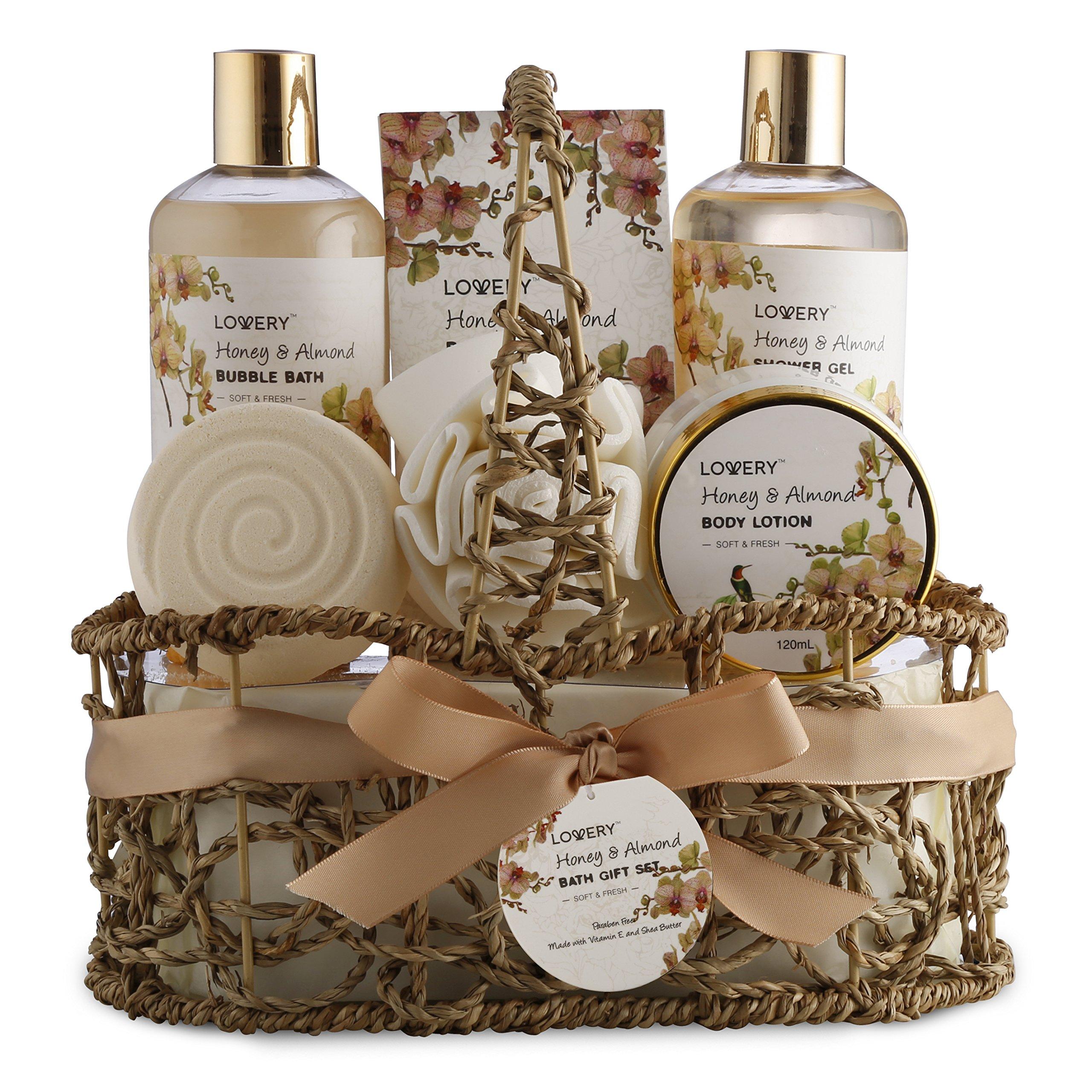 Home Spa Gift Basket - Honey & Almond Scent - Luxury Bath & Body Set For Women and Men - Contains Shower Gel, Bubble Bath, Body Lotion, Bath Salt, Bath Bomb, Bath Puff & Handmade Weaved Basket