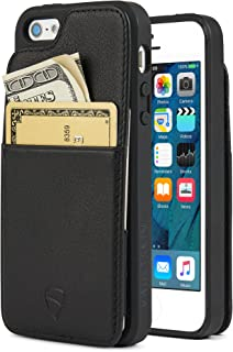 iPhone SE / 5S Case, Vaultskin Eton Armour iPhone SE / 5S Case Wallet, Slim, Minimalist Genuiner Leather Case - Holds up to 8 Cards/Top Grain Leather (Black)