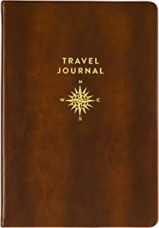 Eccolo Guided Travel Journal with Travel Themed Art & Quotations, 6x8, Brown