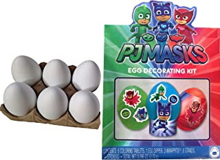 River Charms PJ Masks Easter Egg Decorating Kit | 6 White Plastic Decorating DIY Dyeable Craft Eggs Bundle