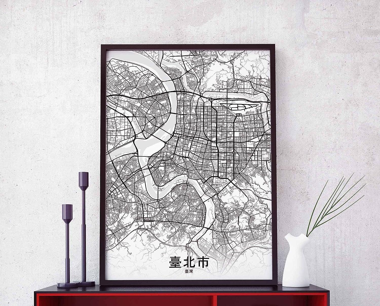 Taipei Taiwan Map Poster Hometown City Print Modern Home Decor Office Decoration Wall Art Dorm Bedroom Gift | 11×17, 16×24, 24×36 inch- Unframed Wall Art