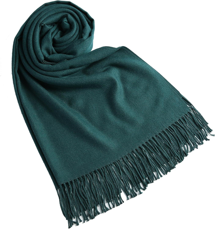 JAKY-Global Pashmina Schal oder Überwurf Kaschmir-schal für Damen Herren super weich warm, 198 cm x 68 cm als Männerschal oder Damenschal Tiefgr¨¹n
