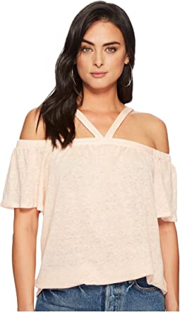 1.STATE Short Sleeve High Neck Cold Shoulder Knit Top
