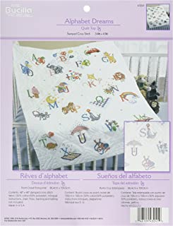 Bucilla Stamped Cross Stitch Baby Quilt Top, 34 by 43-Inch, 43241 Alphabet Dreams