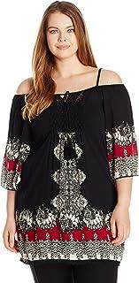 Angie Women's Plus Size Crochet Front Cold Shoulder Top