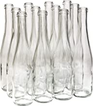 North Mountain Supply 375ml Clear/Flint Glass Stretch Hock Wine Bottle Flat-Bottomed Cork Finish - Case of 12
