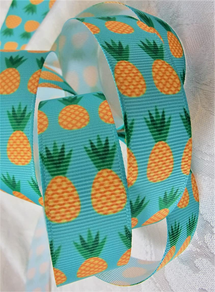 Grosgrain Ribbon - Pineapple Print - 7/8 inch Wide - 10 Yards - Hair Bows & Crafts