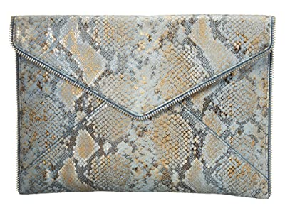 Rebecca Minkoff Leo Clutch (Cement Blue Multi) Clutch Handbags