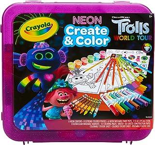Crayola Trolls World Tour, Neon Create & Color Art Set, Over 70 Art Supplies, Gift..