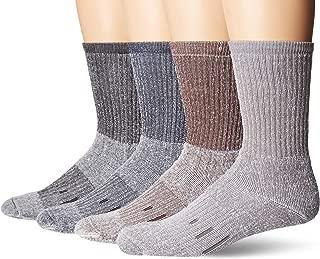 Quozi Men`s Outdoor Trail Merino Wool Hiking Socks -4 pairs