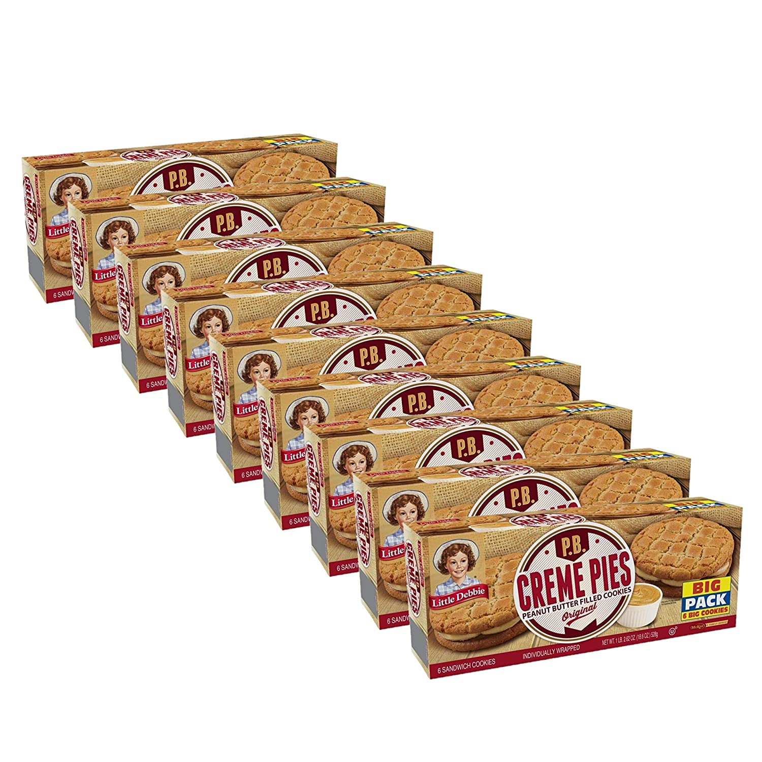Little Debbie Peanut Butter Creme Pies, 9 Big Pack Boxes, 54 Individually Wrapped Sandwich Cookies