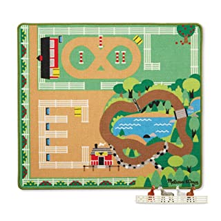 Melissa & Doug Round the Ranch Horse Activity Rug With 4 Play Horses and Folding Fence