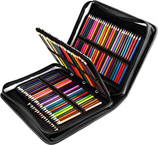 YOUSHARES 180 Slots PU Leather Colored Pencil Case - Large Capacity Carrying Case for Prismacolor Watercolor Pencils, Crayola Colored Pencils, Marco Pens, Gel Pens(Black)