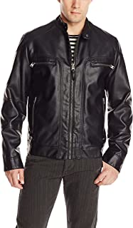 Calvin Klein Men's Faux Leather Moto Jacket with Removable Hood