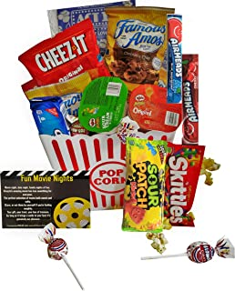 """Movie Night Gift Basket Ultimate Care Package with lots of Premium Candy Cookies Popcorn and Snacks in a Cool Retro Nostalgic Plastic Bucket & Kinayto """"Fun Movie Night"""" Poem"""
