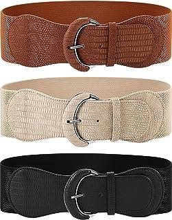 SATINIOR 3 Pieces Wide Women Waist Belt Stretchy Cinch Belt Leather Elastic Belt for Ladies Dress Decoration, Black, Khak...