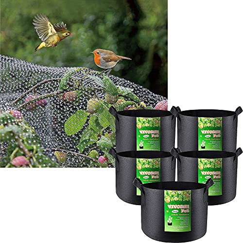 new arrival VIVOSUN Anti Bird Netting 7.5' x 65' and new arrival 5-Pack wholesale 3 Gallon Plant Grow Bags (Black) outlet sale