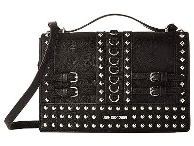 LOVE Moschino Shoulder Bag with Belt Studs (Black) Shoulder Handbags