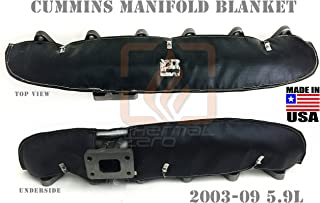 BLACK TURBO MANIFOLD BLANKET FOR 2003-2009 DODGE RAM 2500 AND 3500 5.9 DODGE CUMMINS DIESEL Holds 2400 degrees. MADE IN USA - MB0309CD-B