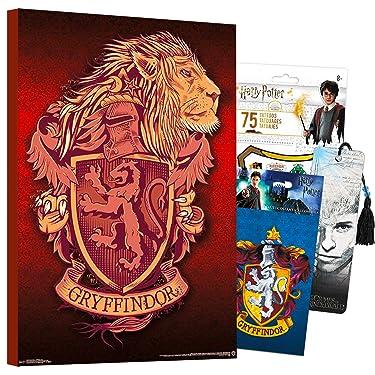 "Harry Potter Poster Wall Art Set ~ Mounted Harry Potter Print (8"" x 11"") (Harry Potter Room Decor) (Gryffindor Lion)"