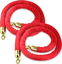 New Star Foodservice 54750 Red Velvet Stanchion Rope with Gold Color Plated Hooks , 79.5-Inch, Set of 2