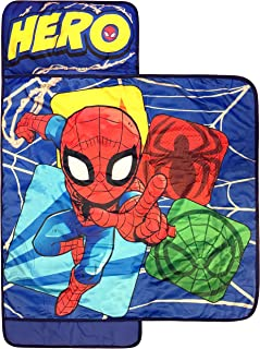 Jay Franco Marvel Spiderman Spidey Squares Nap Mat - Built-in Pillow and Blanket - Super Soft Microfiber Kids'/Toddler/Children's Bedding, Ages 3-7 (Official Marvel Product)