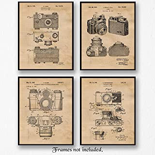 Original Classic Camera Patent Poster Prints, Set of 4 (8x10) Unframed Photos, Wall Art Decor Gifts Under 20 for Home, Office, Garage, Man Cave, School, College Student, Teacher, Photography Fan