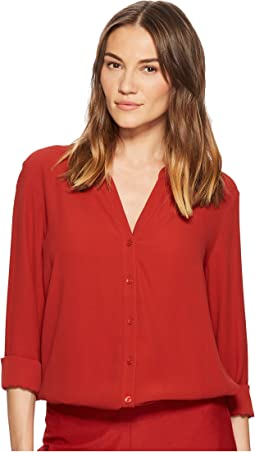 Eileen Fisher - Silk Georgette Crepe Stand Collar Top