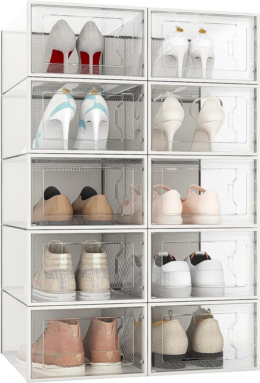 Buy TUKKU 20 Pack Shoe Storage Boxes, Clear Plastic Stackable Shoe ...