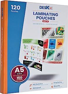 Pochettes de plastification Deskit A5, brillantes, 120 feuilles, 150 microns - Présentations claires et durables - Taille ...