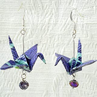 Pair of Origami Good Luck Paper Crane Earrings,Lavender Purple Peri w/Iridescent Bead, Gift for Mom