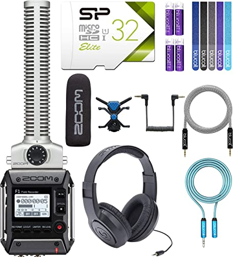 popular Zoom 2021 F1-SP Field Recorder Bundle with 32GB Class 10 SDHC MicroSD outlet sale Card, SR350 Over Ear Stereo Headphones, Blucoil 6' 3.5mm Extension Cable, 5-FT Audio Aux Cable, 4 AAA Batteries, and 5x Cable Ties outlet online sale
