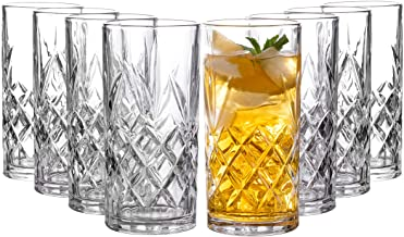 Clovelly Tall Highball Glasses Set of 8, 12 Ounce Cups, Textured Designer Glassware for Drinking Water, Beer, or Soda, Tre...