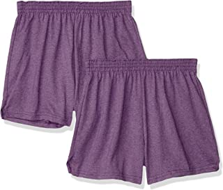 Soffe Juniors' Authentic Cheer Short, Team Purple Heather, Medium (2-Pack)