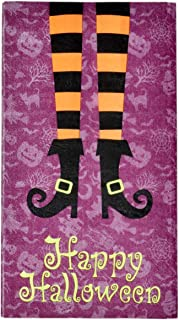 100 Happy Halloween Guest Napkins 3 Ply Disposable Paper Pack Elegant Holiday Wicked Witch Leg Boot Dinner Hand Towel Napkin Orange and Black Striped Sock Feet Spooky Haunted Party Decorative Towels