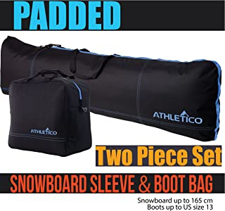 Padded Two-Piece Snowboard and Boot Bag Combo | Store & Transport Snowboard Up to 165 cm and Boots Up to Size 13 | Includes 1 Padded Snowboard Bag & 1 Padded Boot Bag