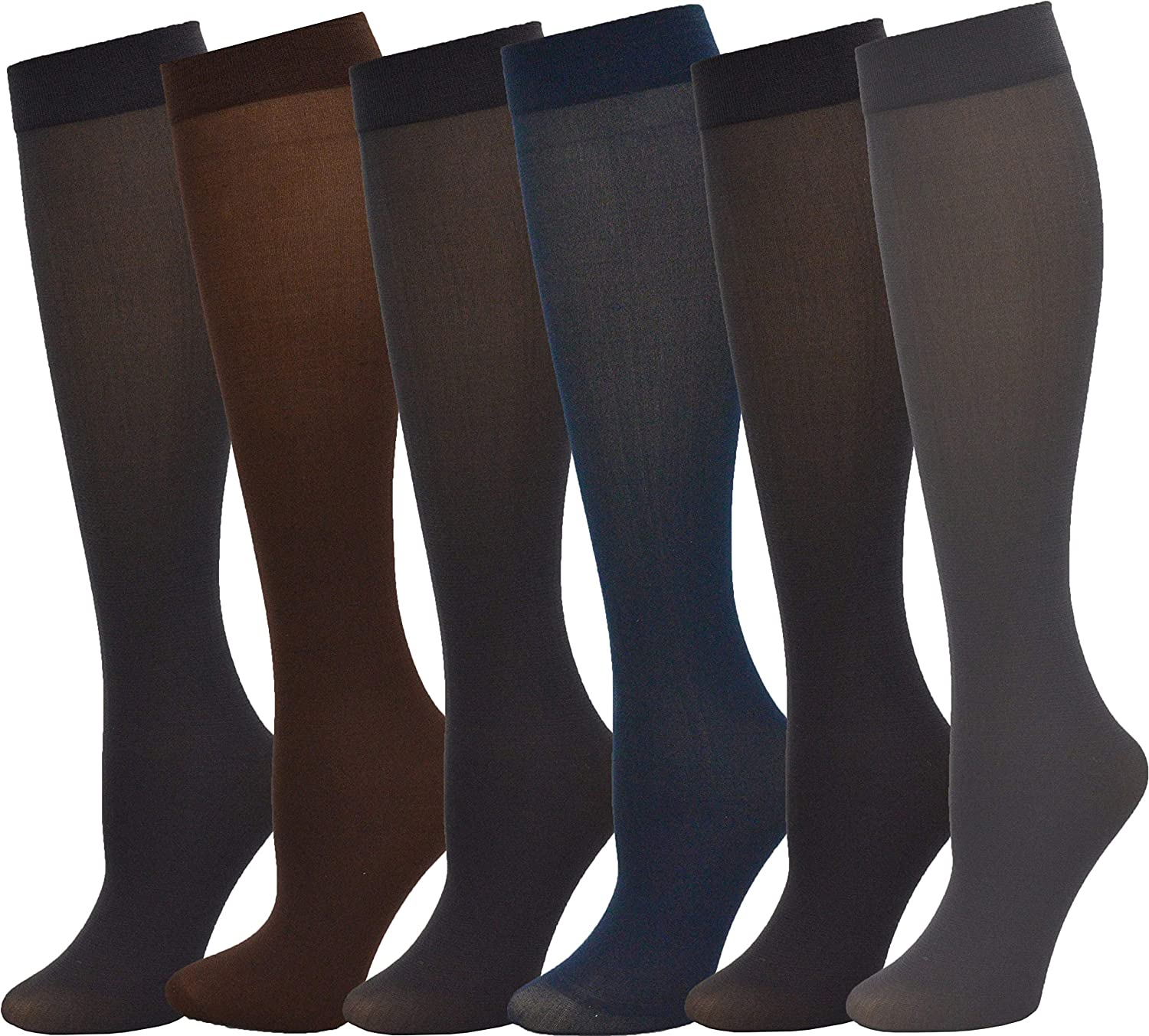 Queen Size Trouser Socks for Women 6 Pairs Plus Stretchy Opaque Knee High Dress Sock