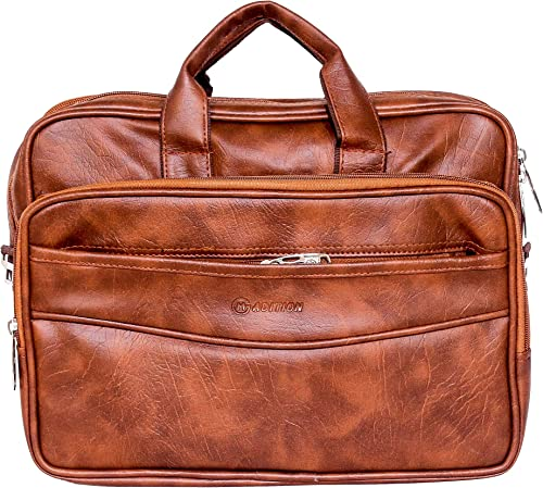 PU Leather Laptop Messenger Bag Adjustable and Detachable Strap Tan Briefcase Shoulder Bag for Men 17 Inch SHELB02