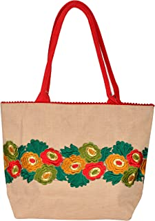 Roy Jute Handicrafts Women's Shoulder Bag (RJH 08_Off White)