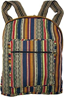 Blue Woven Ethnic Fabric Backpack By Original Collections